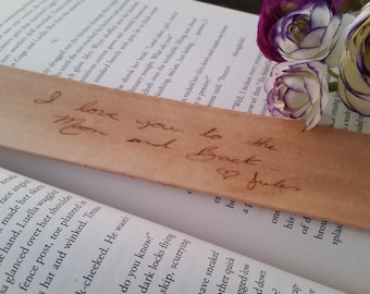 Christmas Gift, Custom Engraved Leather Bookmark, Gift Boxed