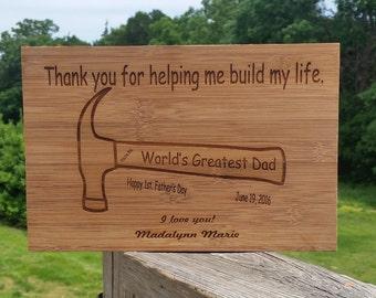 Custom Hammer Engraved  Gift Dad, Engraved Wooden Plaque, Daddy Birthday Keepsake