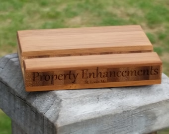 Bamboo Engraved Business Cards Holder, GIFT WRAPPED