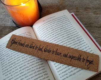 Custom Engraved Cork Bookmark, Eco Friendly Gift,  Christmas Personalized Gift