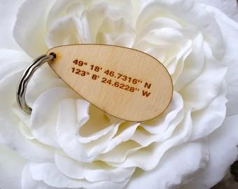 5th Anniversary Gift Him, Custom Coordinates KeyChain, Boyfriend Gift