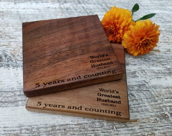 5th Anniversary Gift For Him, Engraved World's Greatest Husband,  Coasters, At Home Bar, 4
