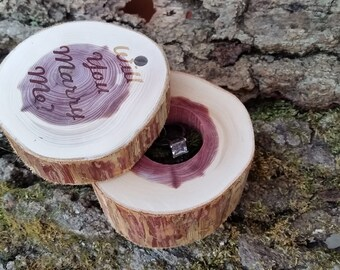 Proposal Wood Ring Box Engraved, Custom Engraved