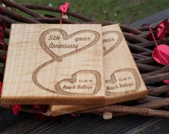 Custom 5th Anniversary Gift For Him, Her Wooden Coasters,  GIFT WRAPED