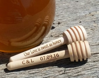Engraved  Wooden MINI Honey Dipper, Personalized Honey Stirrer, 10