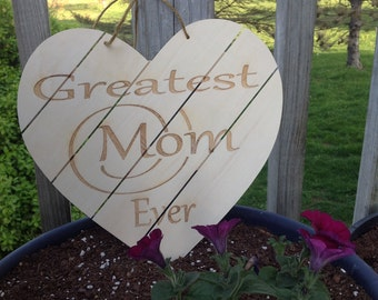 Gift For Mom, Heart Wooden Plaque, Greatest Mom Ever, Gift Wrapped