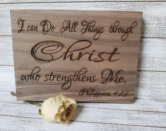 Essential Worker Gift, Quarantine Gift, Custom Engraved Plaque, Philippians 4:13 Gift Wrapped