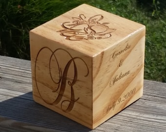 Custom 5th Wedding Anniversary,  Solid Wood Cube Paperweight