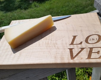 5th Anniversary Gift, Bridal Shower Gift For Couple, Engraved Wood Cutting/Serving Board, Gift Wrapped & Tag