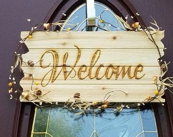 Autumn Welcome Wreath, Door Hanger, Fall Entry Wall Plaque