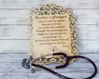 Personalized Dr. Prayer Plaque, Dr. Office Decor, Christmas Doctor, Gift For My MD, Internal Medicine, Sports Doctor, Gift Wrapped
