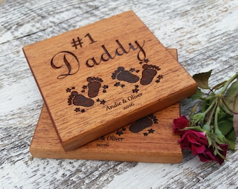 Custom Gift Daddy, Wood Engraved Coasters, Gift From Twins or Children, Birthday Gift From Twins