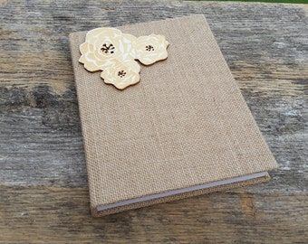 Birthday  Gift, Burlap & Wood Journal,  Anniversary Gift, Birthday Gift Mother