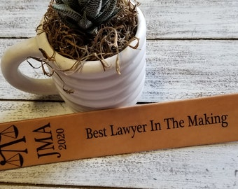 Gift Lawyer, Personalized Leather Bookmark, Gift Boxed