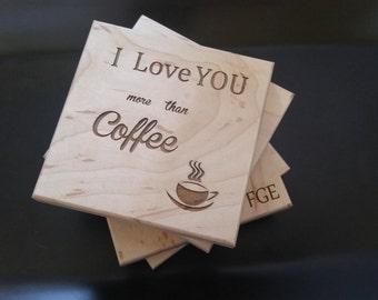 I Love You More Than Coffee, Engraved Wooden Coasters, Christmas Gift, GIFT WRAP & TAG