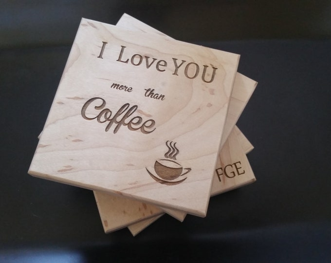 Featured listing image: I Love You More Than Coffee, Engraved Wooden Coasters, Christmas Gift, GIFT WRAP & TAG