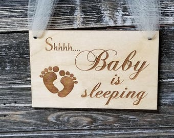 Custom Baby Sleeping Hanger, Wood Sign,  New Parents Gift, Gift Boxed