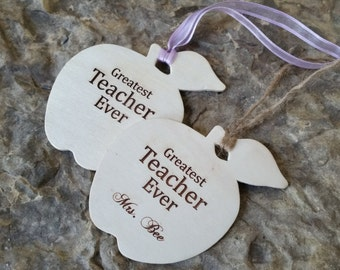 Personalized Teacher Apple Ornament, Christmas Gift Teacher, Holiday Gifts, Gift Wrapped