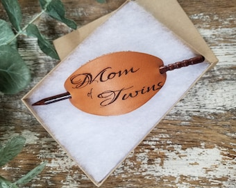 Mom Of Twins Leather Bun Holder Engraved, Gift Boxed, Ready To Ship,  Priority Mail