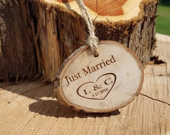 Rustic Cake Stand Tag, Log Tag, Custom Engraved