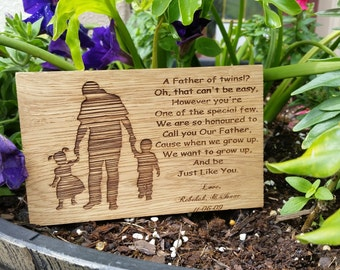 Twins Dad, Custom Engraved Dad Poem, Wooden Plaque, Gift Wrapped,  Priority  or Express Shipping