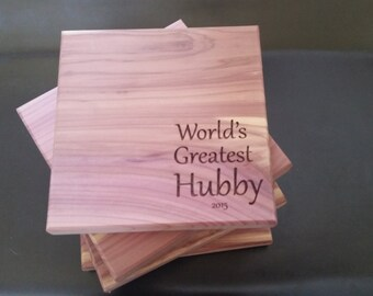 Birthday Gift For Husband, Engraved Coasters