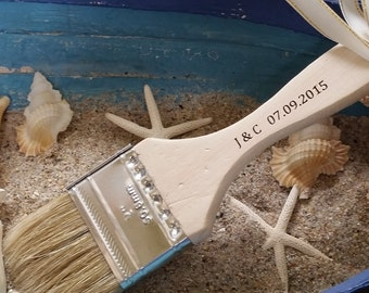 Beach Wedding, Personalized Brushes,  Bachelorette Party, Bridal Shower, 5 Brushes