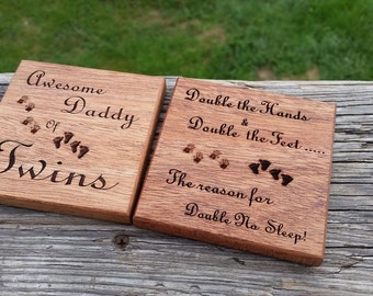 Father's Day Gift From Twins, Wood Engraved Coasters