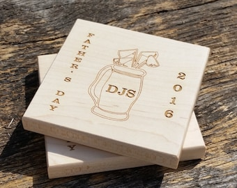 Custom Personalized Gift Golf Lover, Birthday Gift, Engraved Coasters, CUSTOM ENGRAVED