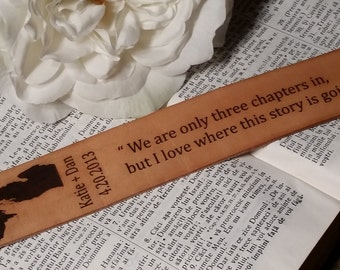 3rd Wedding Anniversary, Custom  Engraved Leather Bookmark