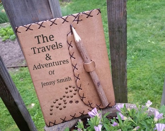 Personalized Traveling Leather Journal, Gift For Traveler, 3rd Wedding Anniversary, Gift For Wife, Engrave Journal