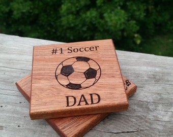 Father's Day Gift Soccer Dad , Birthday Gift, Personalized  High End Coasters, 2