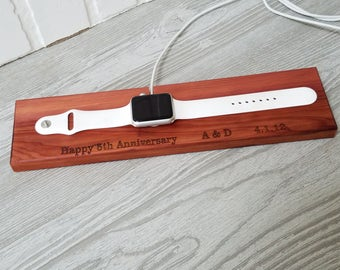 5th Anniversary Gift, Cedar iWatch Docking Station, Charger Holder  Personalized, Best Buddy, Care Giver,