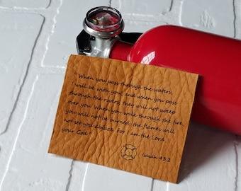 Custom Firefighter Gift, 3rd Wedding Anniversary, Guy Valentines Gift,  Engraved Leather Helmet Insert, Isaiah 43:2