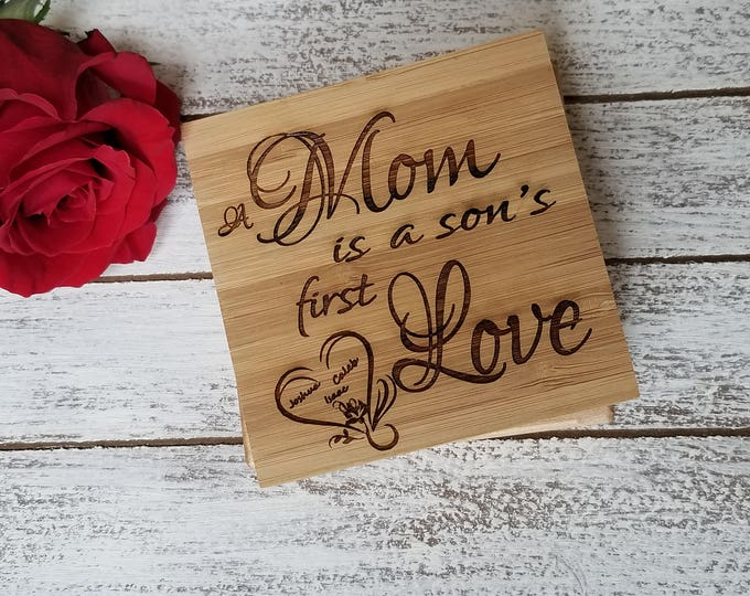 Featured listing image: Engraved Gift Mom, A Mom Is A Son's First Love Engraved Coasters, New Mom Gift, Christmas Gift, Holiday Gift