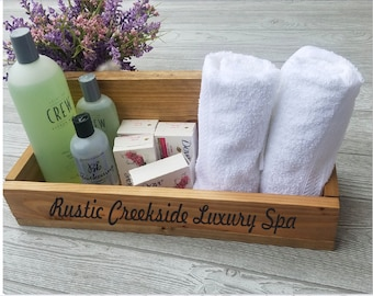 Wooden Spa Organizer, Rustic Wood Caddy, Custom Made, Engraved