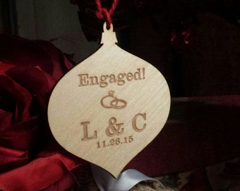 Engaged Ornament, Engraved Globe, Christmas Gift,