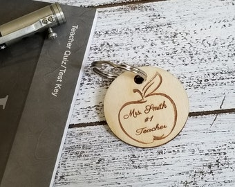 Christmas Teacher Gift, Personalized Key Fob, Gym Bag Tag, Zipper Pull,  Gift Boxed, Priority Mail Shipping