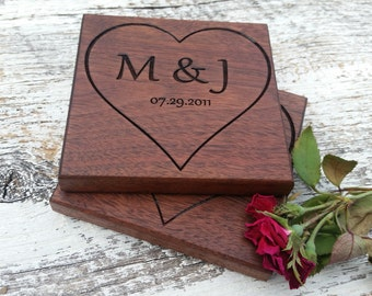 Personalized Gift  New Couple, Gift For Him or Her, Custom Engraved Wood Coasters, GIFT BOXED, Quick Shipping