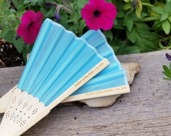 Mother Of The Bride & Groom Personalized Hand Fans, Engraved Gift