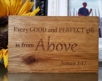 Inspiring Gifts, Bible Verse Engraved Wood Plaque,  Home Decor, James 1:17