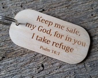 Bible Verse Key Chain, Psalm 16:1, Police Officer Gift, Engraved Wood Key Chain, New Driver, Confirmation Gift, Boxed