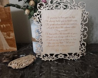 5th Anniversary Vows Plaque, Wedding Gift, Custom Made & Engraved, Priority Shipping, Gift Wrapped