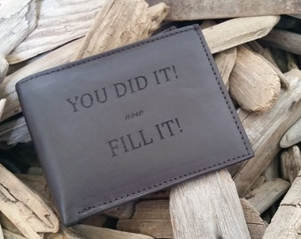 Bar Exam Passed Gift,  Engraved Leather Wallet, Lawyer Graduation Gift,  GIFT WRAPPED