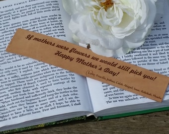 Custom Engraved Leather Bookmark  From Son & Daughter, Christmas Gift, Birthday Gift, Mother's Day Gift, GIFT BOXED