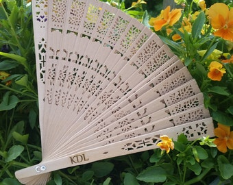 Personalized Wood Lace Hand Fans, Gift For Her
