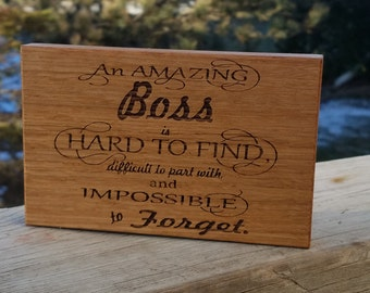 Boss Goodbye Gift, Engraved Wood Plaque, CEO Desk Decor, Guy Valentines Gift, Gift Wrapped