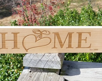 5th  Anniversary Gift, Our Home Wood Engraved Sign