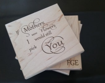 Custom Engraved Gift Mom, Engraved Wood Coasters,  Gift Wrapped