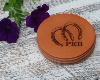 Personalized Gift, Horse Lover Gift, Personalized Leather Coasters, GIFT WRAPPED